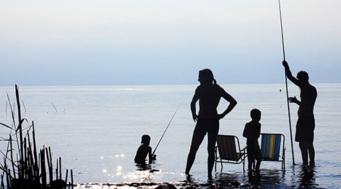 silhouette of family standing in water