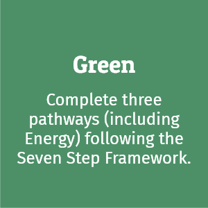 Green Flag; complete three pathways (including Energy) following the Seven Step Framework.