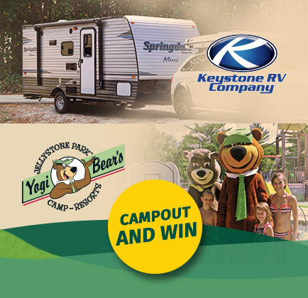 composite of Keystone RV image at top and family with Yogi bear at bottom
