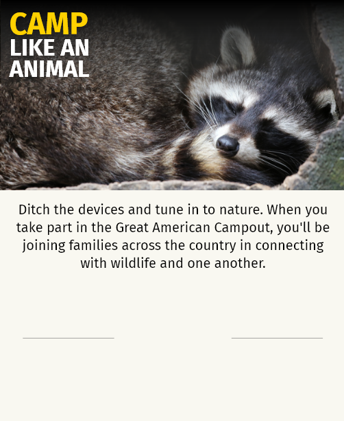 Ditch the devices and tune in to nature. When you take part in the Great American Campout, you'll be joining families across the country in connecting with wildlife and one another.