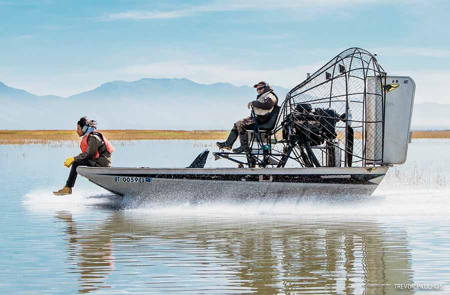 Airboat in Utah's Bear River Migratory Bird Refuge with musician Conner Youngblood