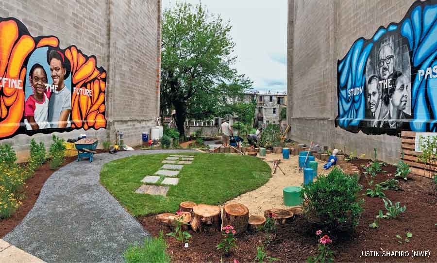 A vacant lot turned into a public park in Baltimore