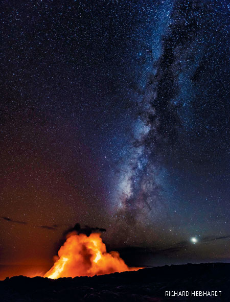 volcano and Milky Way
