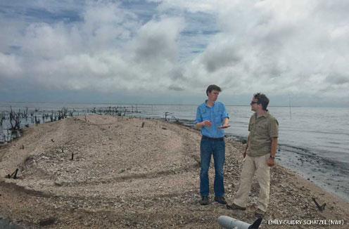 Collin O'Mara meets with news media on Cat Island