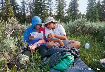 A first-aid practice activity at Shoal River Falls, Gros Ventre Wilderness WY
