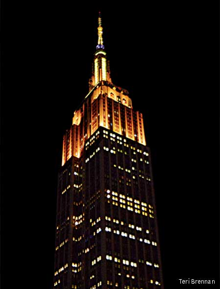 Empire State Building lit Bee Yellow, New York City