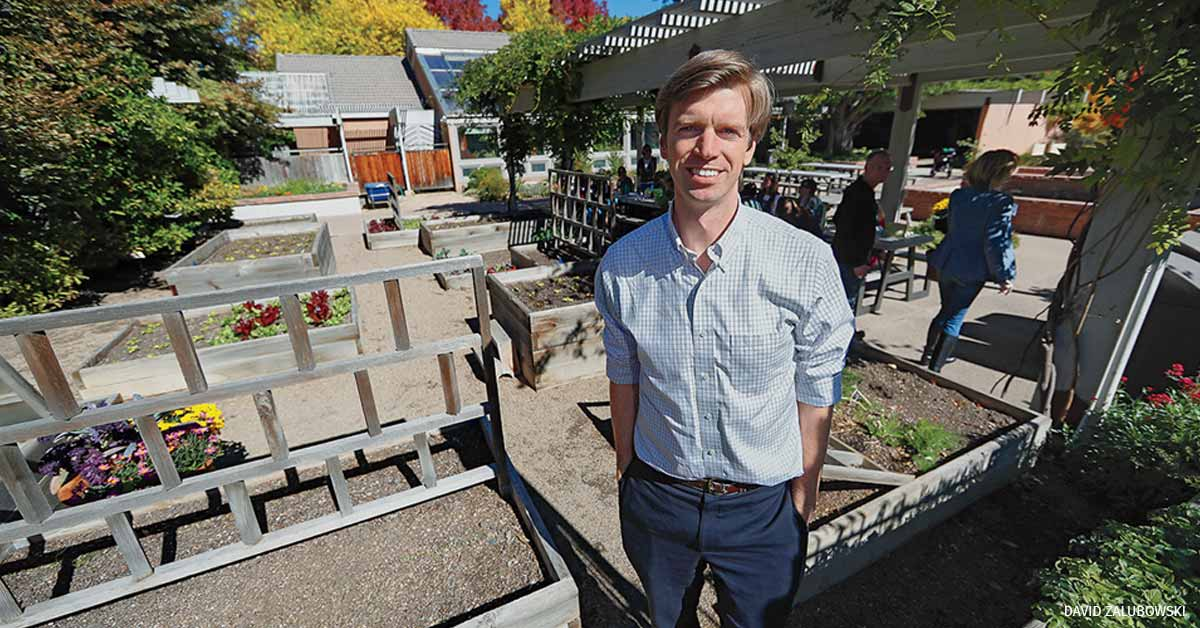 Collin O'Mara in Denver at the Botanic Gardens to speak at the ECHO Summit