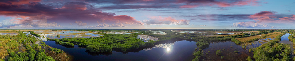 a panoramic view of the Everglades at dusk